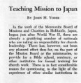 Teaching Mission to Japan